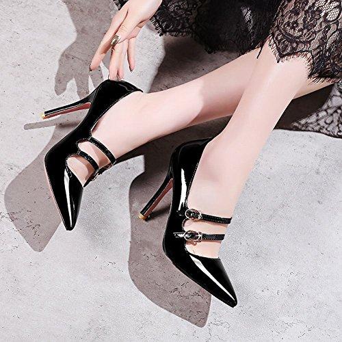 Mee Shoes Damen High Heels Schnalle Lackleder Pumps Schwarz