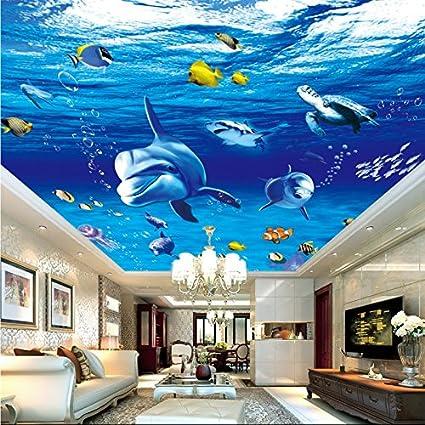 Kuamai Papel Tapiz 3D Personalizadas Mundo Submarino Dolphin Techo Diseño Mural Salón Dormitorio Acuario Lobby Zenith