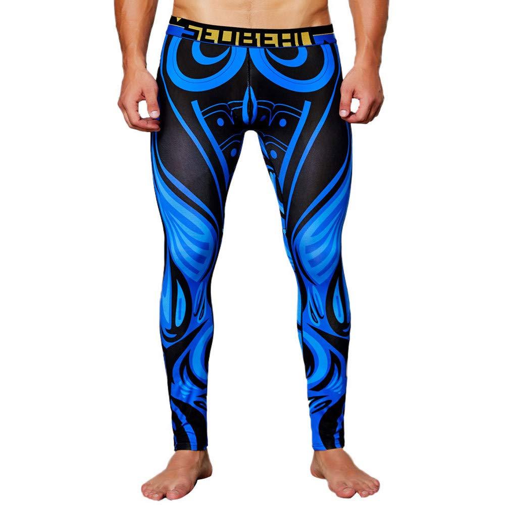 Mens Print Breathable Sports Leggings Thermal Long Johns Underwear Pants