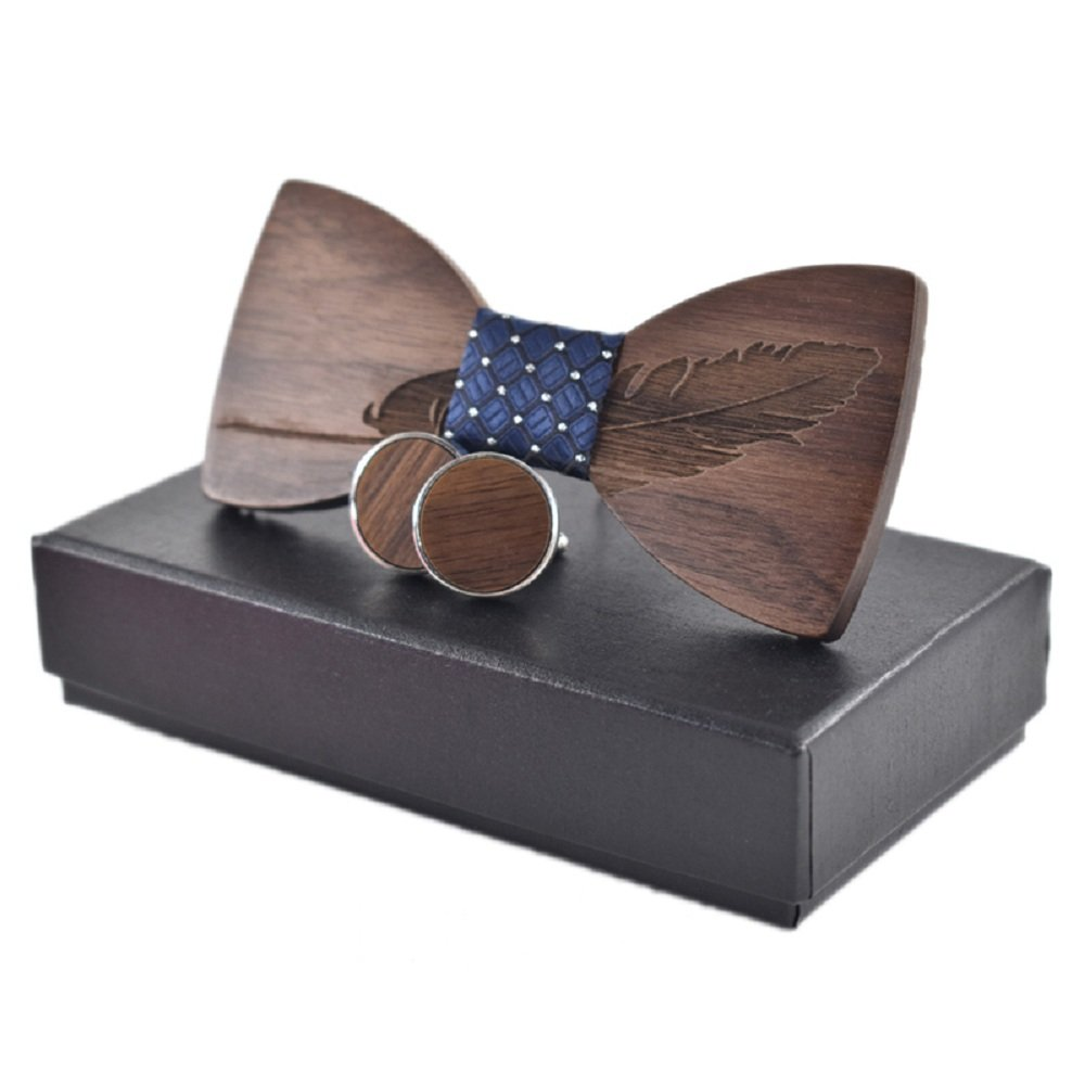 Amzchoice Elegant Handmade Black Walnut Mens Wood Bow Tie Wedding Bowtie