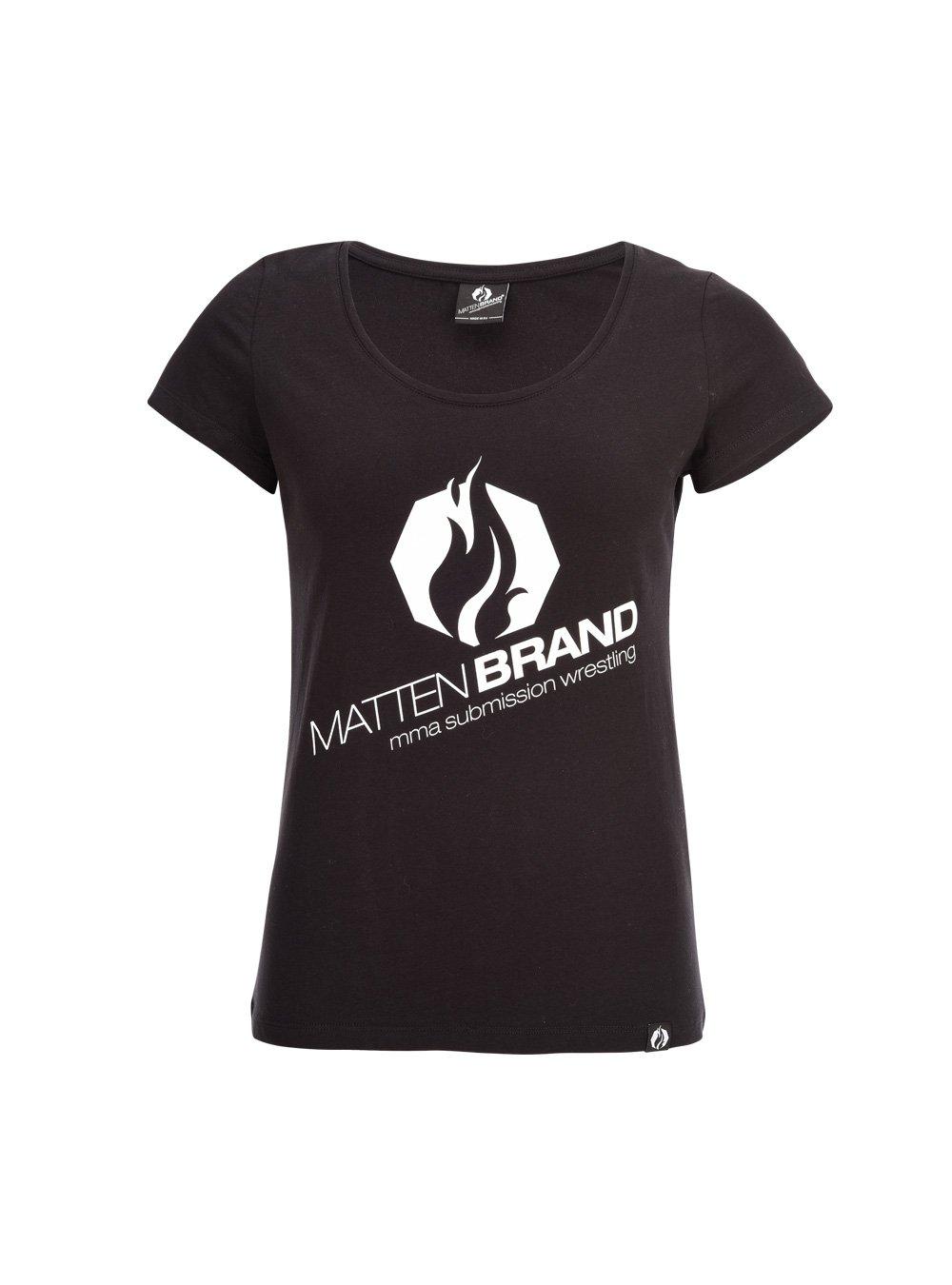 MATTENBRAND T-Shirt Damen Na-Logo schwarz/weiß, Kampfsport, MMA, Grappling, BJJ