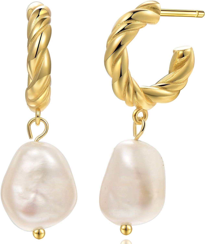 Baroque Pearl Earrings [.925 Sterling Silver] - Vintage/Art Deco/Gala/Evening Wear/Elegant/Ballroom/Bridal