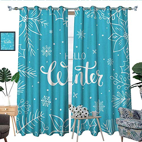 QianHe Bedroom Curtains Floral Branches Twigs and Poinsettia Christmas Thermal Insulated Blackout Curtains, Cute Window Drapes for Space Themed W96 x L84
