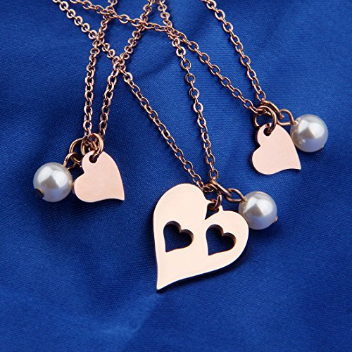 BNQL Rose Gold Mother Daughter Heart Cutout Necklace Set Pearl (Cutout 2 Heart Necklace) by BNQL (Image #2)