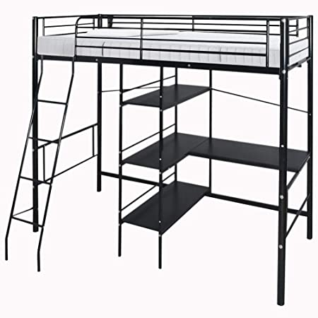 The Fellie High Bunk Bed With Desk Double Metal High Sleeper Bed