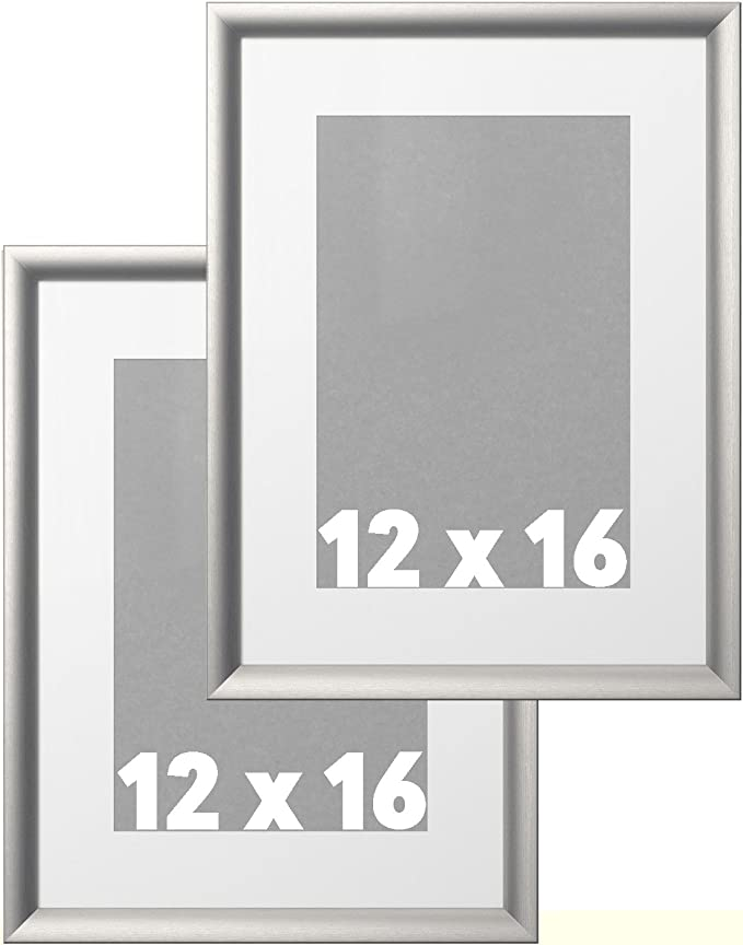 Glass /& Snow Gray Mat for 12X16 16x20 Traditional Ornate Silver Frame