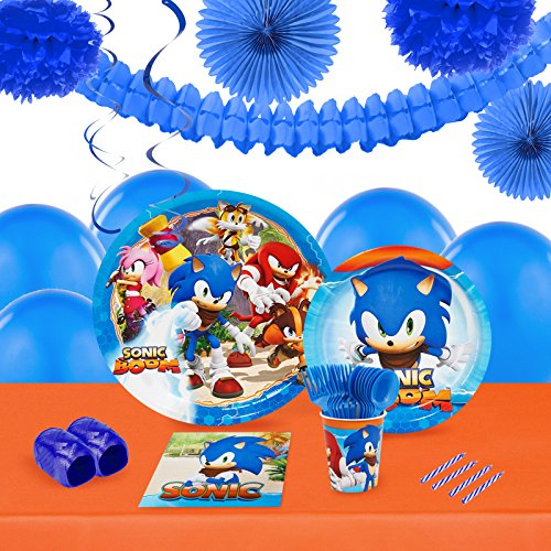 Sonic Boom Childrens Birthday Party Supplies - Tableware and Decoration Pack (16) -
