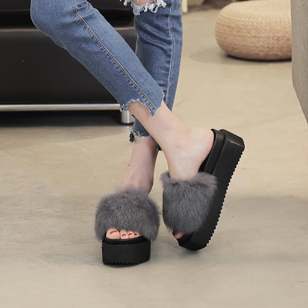 LIXIONG zapatillas Hembra verano Fondo grueso Moda Ropa exterior Antideslizante zapato, 4 colores -Zapatos de moda (Color : Gris, Tamaño : EU38/UK5.5/CN38/240) EU38/UK5.5/CN38/240|Gris