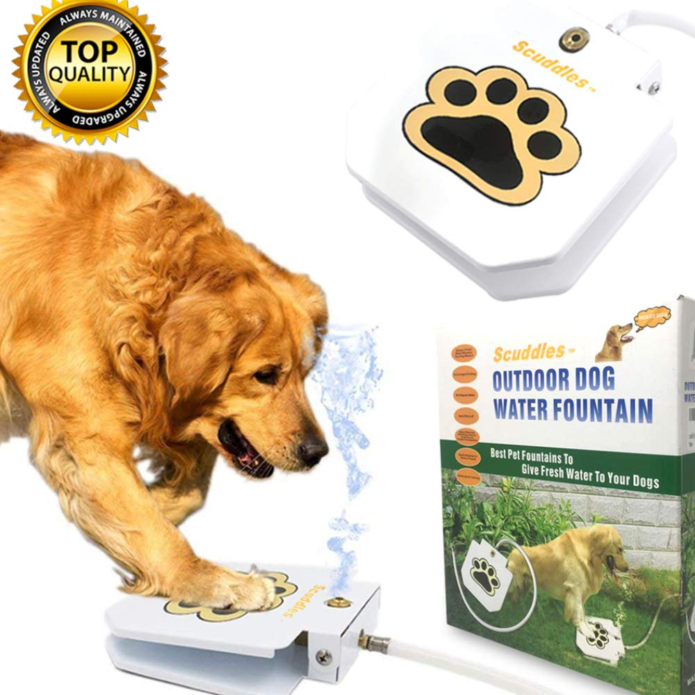 Scuddles Dog Drinking Water Fountain Step On - Outdoor Auto Pet Water Dispenser System for Fresh Water - Suitable as Large or Small Dog Water Fountain Feeder Automatic - Easy to Use Sturdy Build by Scuddles
