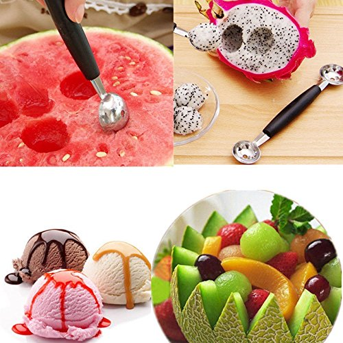 JD Million shop Hot Stainless Steel Dual Double-end Melon Baller Scoop Fruit Spoon Ice Cream Dessert Sorbet Kitchenware Scoop Cook Tool DJ0393 - Vinta Festival Costumes