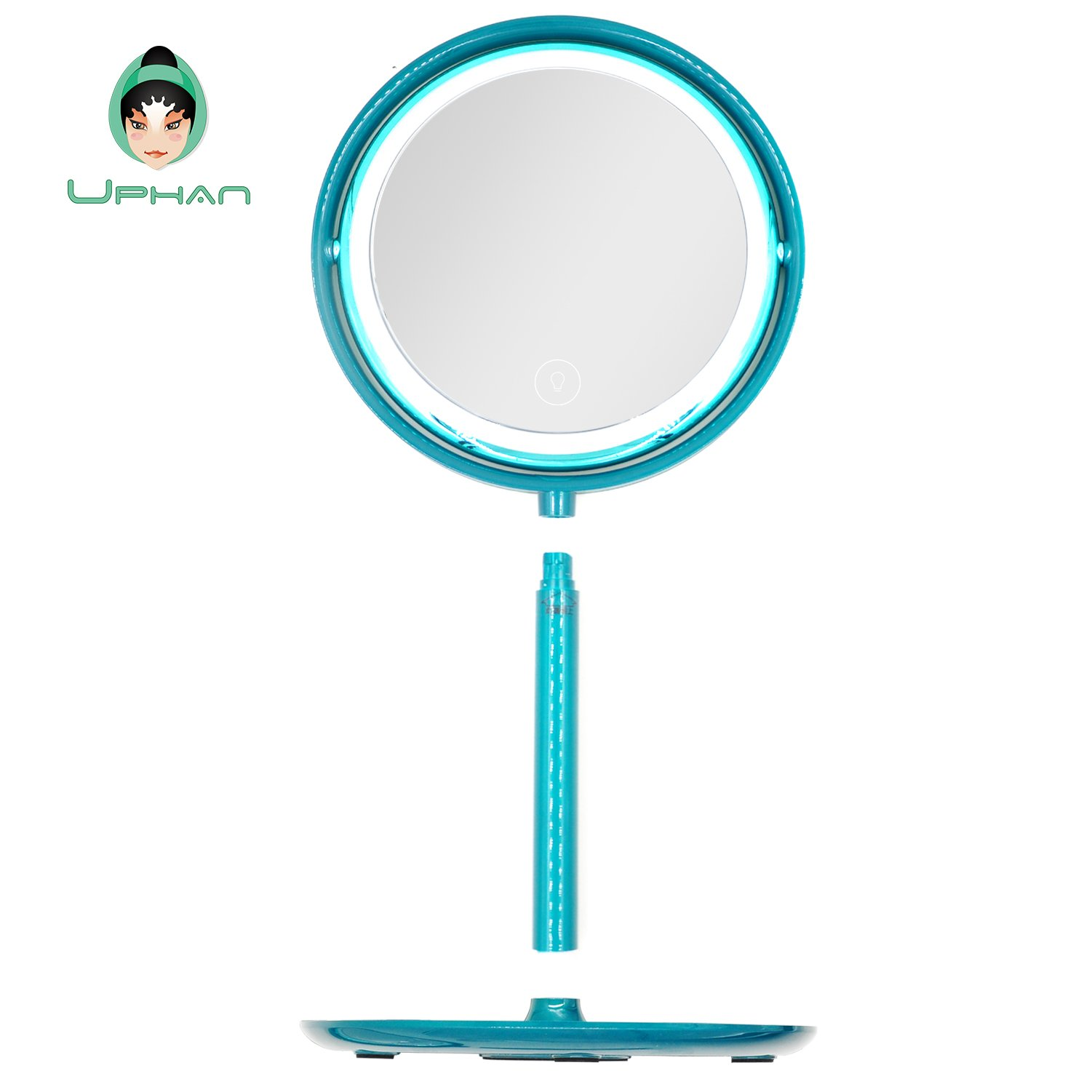 UPHAN U7 Surgical Grade Lighted Makeup Mirrors, 7 inch Luxury Dual Light Color Dimming Light with 5X Detail Mirror, Malachite green ¡­ (Surgical Grade) by UPHAN (Image #7)