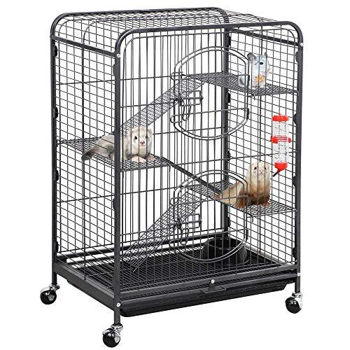 "Yaheetech 37"" Metal Ferret Chinchilla Cage Indoor Outdoor Small Animals Hutch w/ 2 Front Doors/Feeder/Wheels for Squirrel Guinea Pig Sugar Glider,Black (Renewed)"