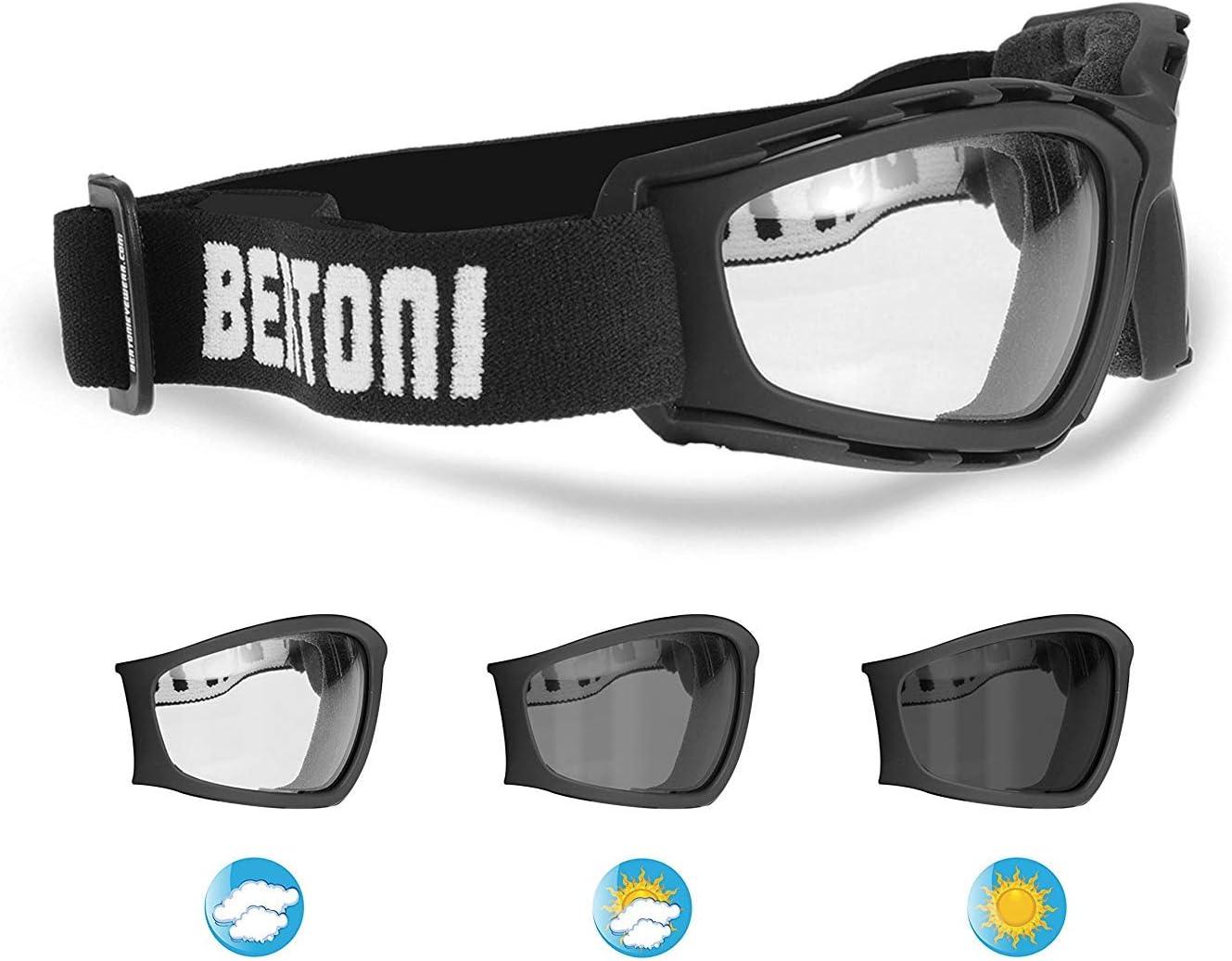Motorrad Sonnenbrille Selbsttönend Anti Beschlag Gläser Verstellbares Band By Bertoni Italy F120new Sport Freizeit