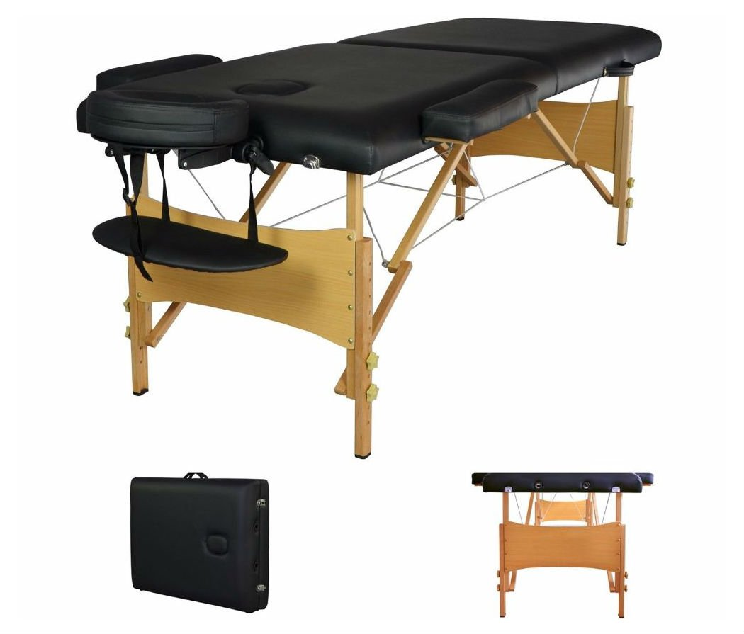 2'' Pad 84'' Black Portable Massage Table w/Free Carry Case Chair Bed Spa Facial T