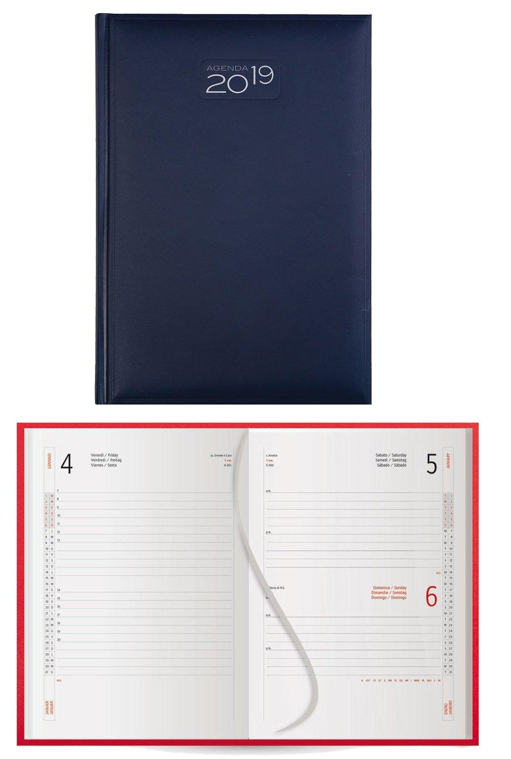 takestop Agenda 2019 Azul Diaria Diario planificador 17 x 12.5 cm Cubierta Rígida Papel Blanca Edición MultiLingua