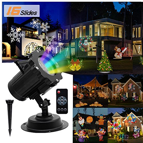 [Newest] LED Christmas Light Projector, Waterproof Outdoor and Indoor Landscape Spotlight with 16 Replaceable Slides & Remote Control for Christmas,Part,Holiday Decoration