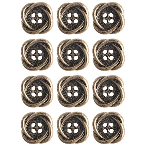 Mibo ABS Metal Plated Interlocking Oval Ring Shape 4 Hole Antique Brass Button 15 mm 12 Pack