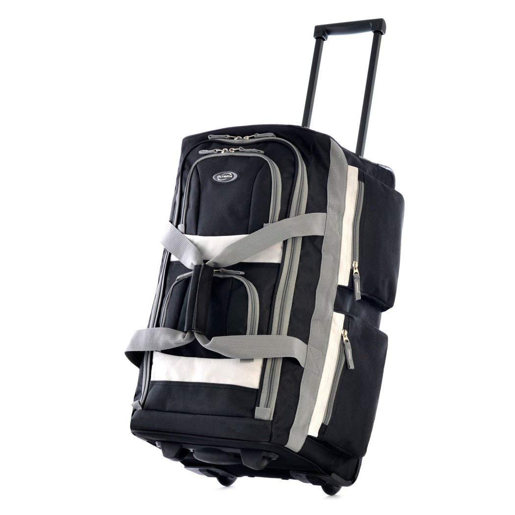 ブラックCarry On Duffelバッグ、軽量、回転、スポーツバッグ、ポリエステル素材 B01M1YW5IV