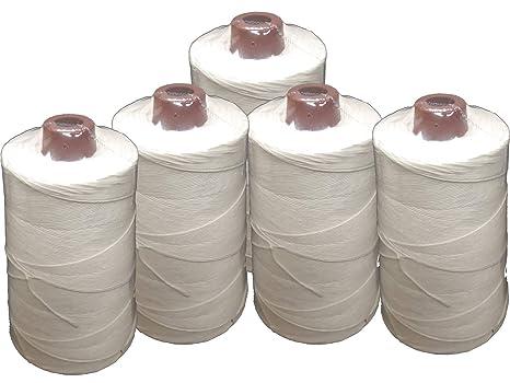 PAMPOLS Pack 5 Hilos de poliéster resistente multiusos BLANCO para máquinas de coser y manualidades (200 gr)
