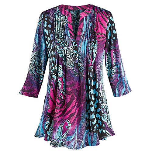 Women's Tunic Top - Gloria Pleated Purple Animal Print Shirt - 2X