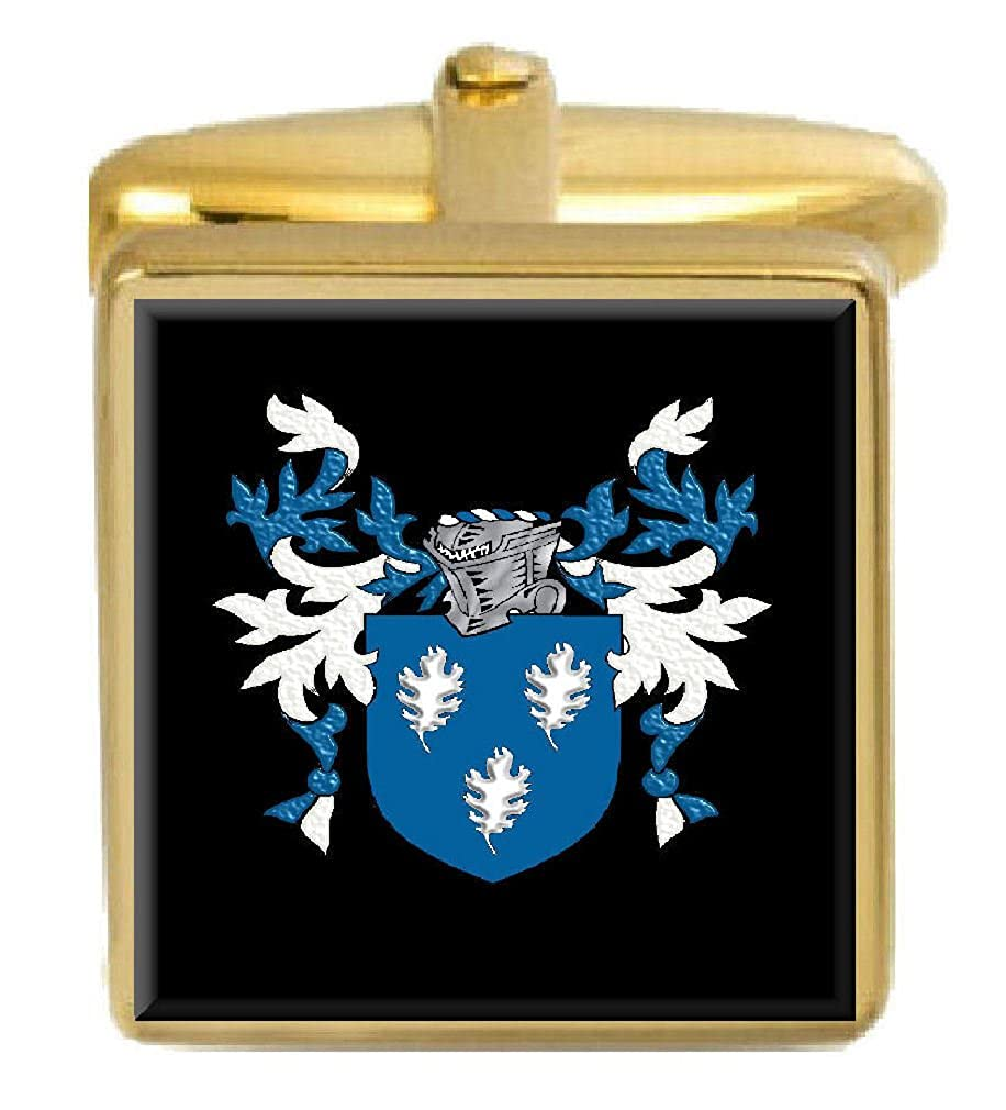 Select Gifts Tobin Ireland Family Crest Surname Coat Of Arms Gold Cufflinks Engraved Box