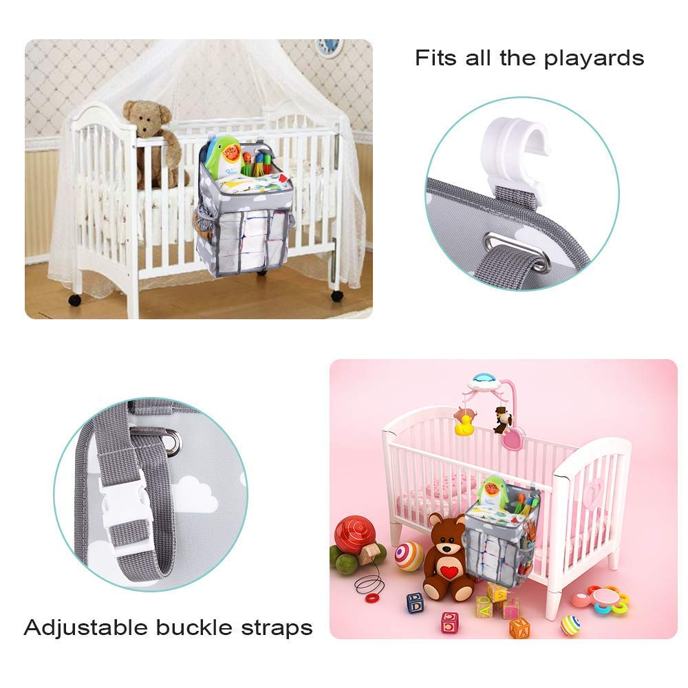 Grey Nursery Organisers,Crib Nappy Organiser Hanging Diaper Caddy Stacker Organizer Holder Beside Storage Bag for Toys Diaper Nappies Towels Clothes