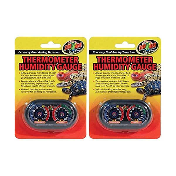 (2 Pack) Zoo Med Economy Analog Dual Thermometer and Humidity Gauge 1