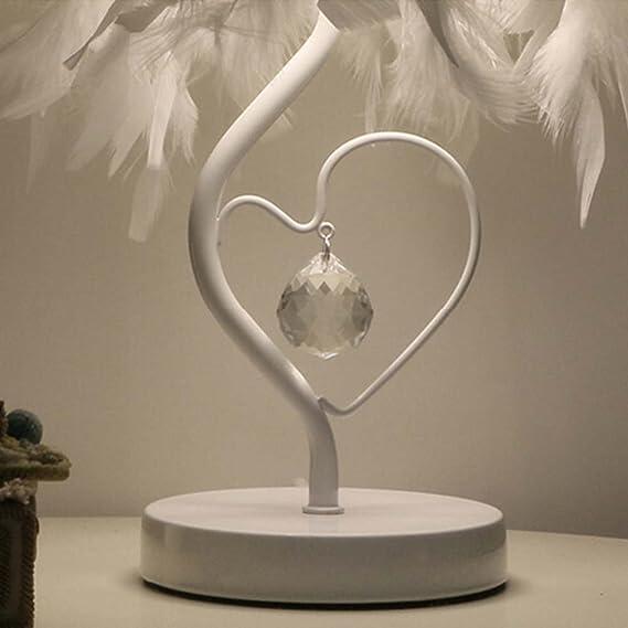 salon Avec cristal et fiche europ/éenne OulII Lampe de chevet /à plumes avec motif en forme de c/œur Pour chambre