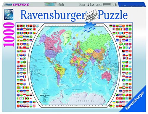 Ravensburger Political World Map 1000 Piece Jigsaw Puzzle for Adults – Every Piece is Unique, Softclick...