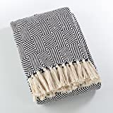 Fennco Styles Sevan Collection Soft Cotton Diamond Weave Throw Blanket (Navy Blue)