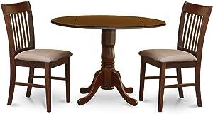 East West Furniture DLNO3-MAH-C 3-Piece Kitchen Table Set, Mahogany Finish