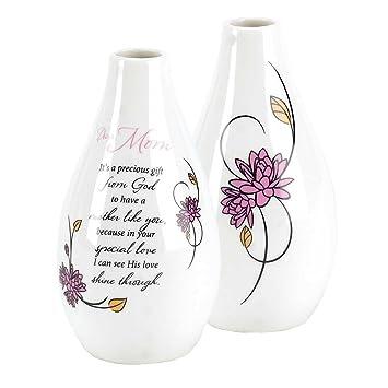 Amazon Dear Mom Pink Floral Bloom Poem White 45 Inch Porcelain