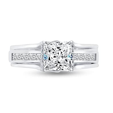 Sonia Jewels 925 Sterling Silver Princess Cut Insert Bridal