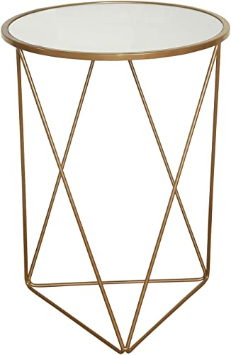 HomePop Geometric Shape Metal Accent Table, Gold