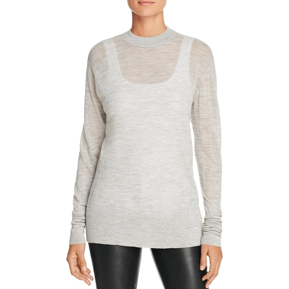 Pure DKNY Womens Long Heathered Pullover Top Gray P