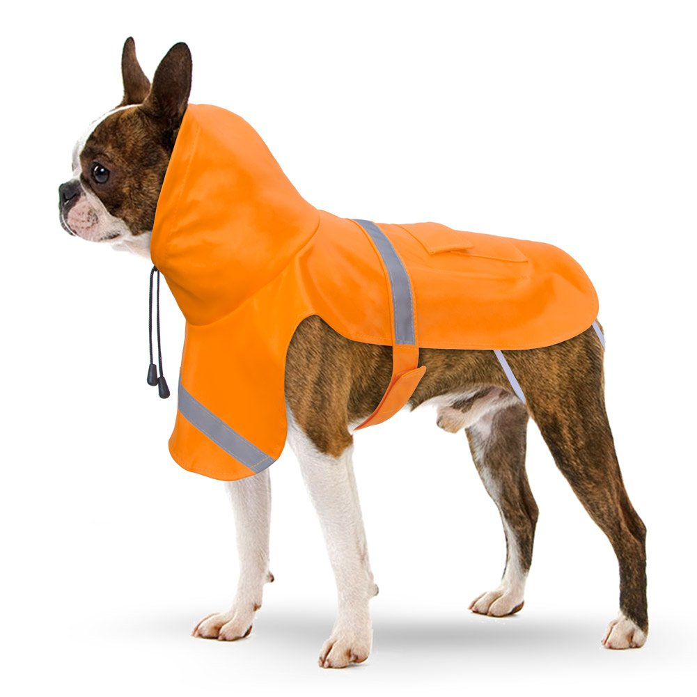 PETBABA Dog Raincoat, Reflective Safe at Night Walk, Waterproof Poncho Hood Good Rainy Day, Rain Coat Jacket Slicker Fit Cold Snow Weather in Winter - XL in Orange