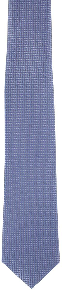 Blue Michelsons of London Mens Textured Geo Silk Tie and Pocket Square Set