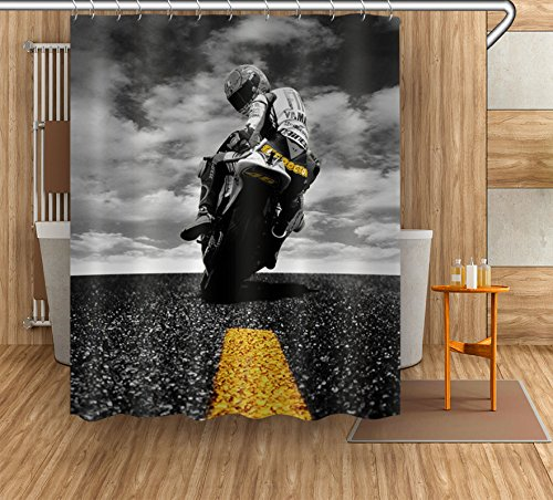 LB Custom Motorcycle Shower Curtain Shower Stall,Crazy Motorcycle Rider 3D Digital Printing Polyester Fabric Waterproof Bathroom Curtains Hooks,72 x 72 Inch