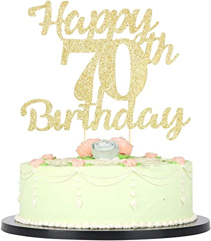 Enjoyable Amazon Com Lveud 70Th Birthday Cake Topper For Happy Birthday 70 Funny Birthday Cards Online Aboleapandamsfinfo