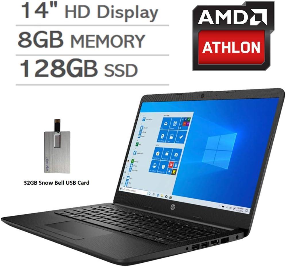 "2020 HP Pavilion 14"" HD Display Laptop Computer, AMD Athlon Silver 3050U Processor, 8GB RAM, 128GB SSD, AMD Radeon Graphics, Webcam, Stereo Speakers, Windows 10, Black, 32GB Snow Bell USB Card"