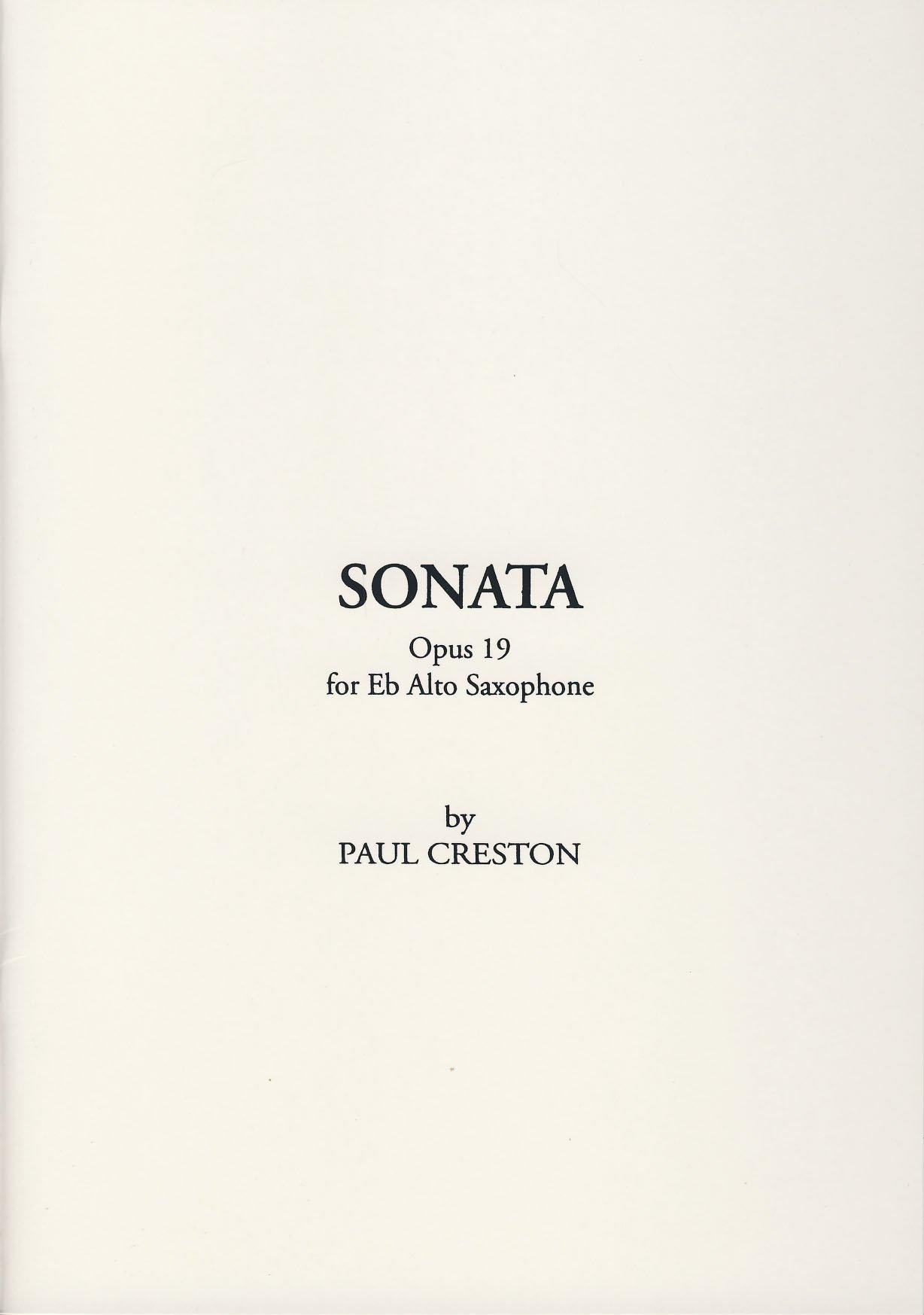 Shawnee Press Creston P Sonata Op 19 Saxophone Alto Classical