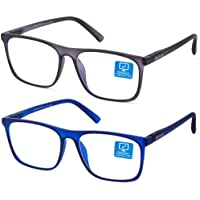 Blue Light Blocking Computer Gaming Glasses 2 Pack Anti Glare Eyestrain Unisex/Men/Women Glasses with Spring Hinges UV…