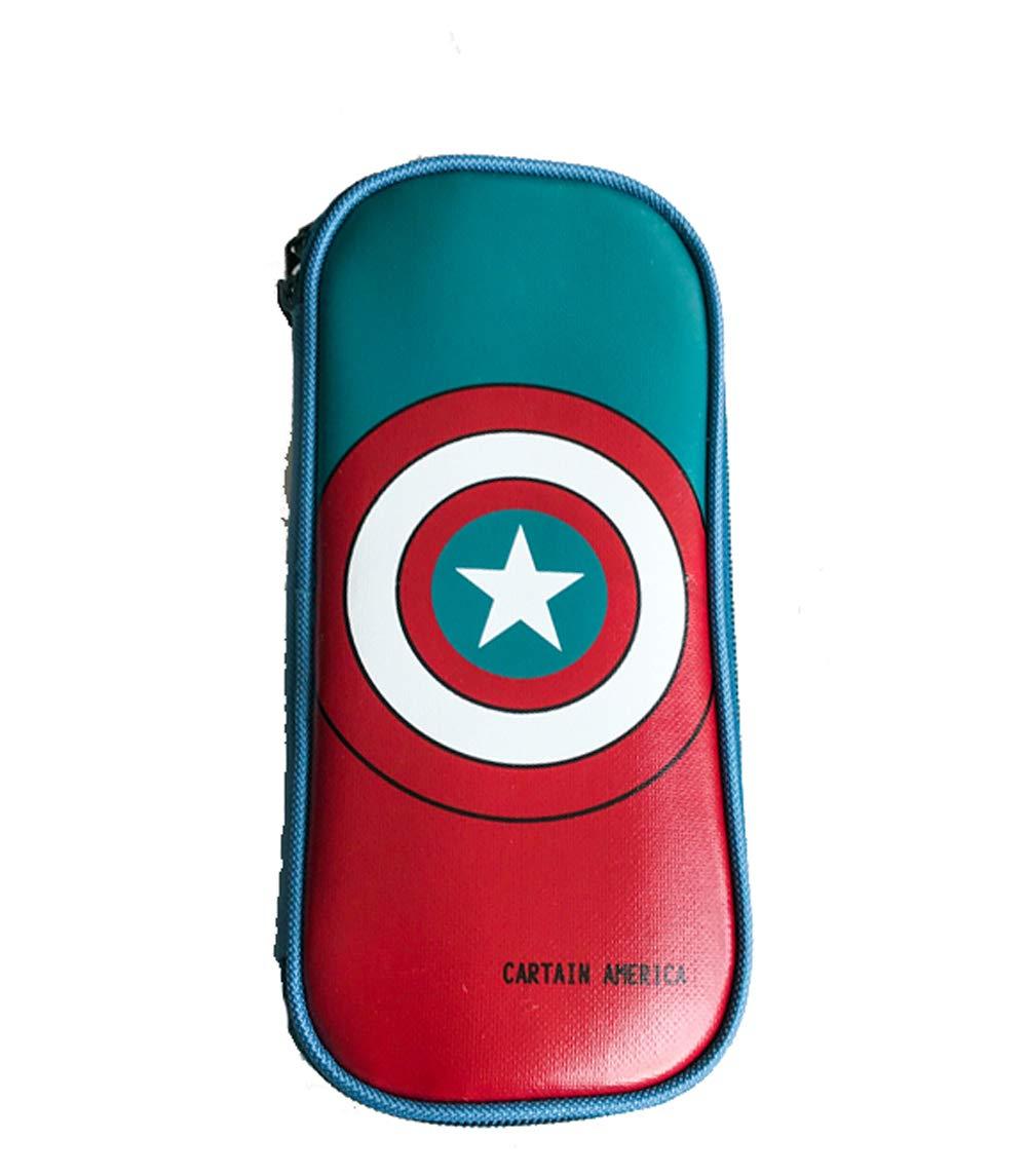 YOURNELO Boy's Cute Cool Super Heroes Pencil Bag Pen Case Multi-Functional Pouch Zipper Bag (Captain America 1)