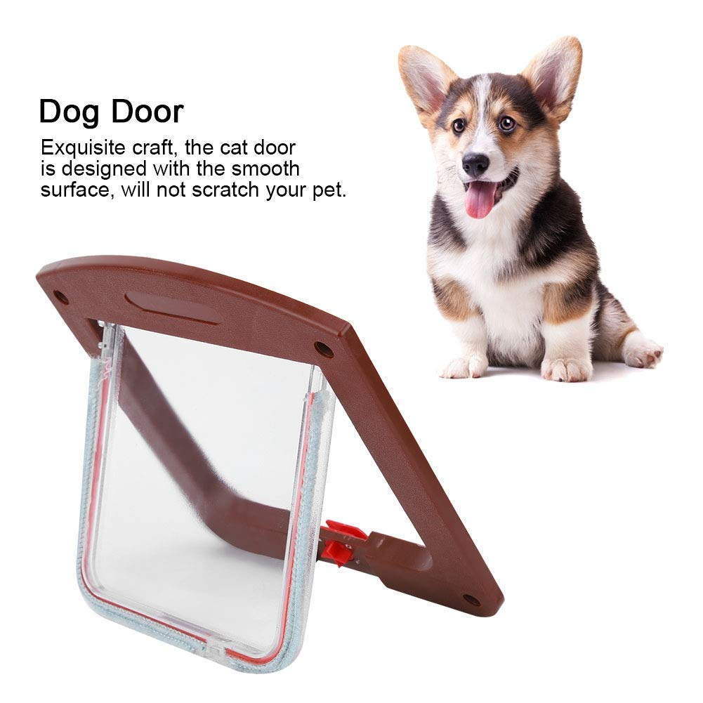 7.9 x 7.9 x 1.2 inch Square PP Controllable Switch Pet Door 4 Way Locking Waterproof Pets Doors for Dogs Puppy Cats Kittens HEEPDD Cat Dog Flap Door Coffee Color