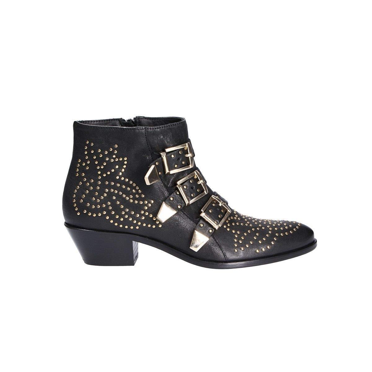 - LEMARÉ Women's 0351BLACK Black Leather Ankle Boots