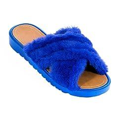 d06290134 EclaDea Women s Fashion Comfy Criss-Cross Soft Faux Fur Slide Sandals   Slip-On Sandals  Flat Slippers Flip Flops Shoes - Casual Women s Shoes