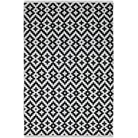Fab Habitat Samsara Flat Weave Indoor/Outdoor Polypropylene Rug, Black and White, (3 x 5)