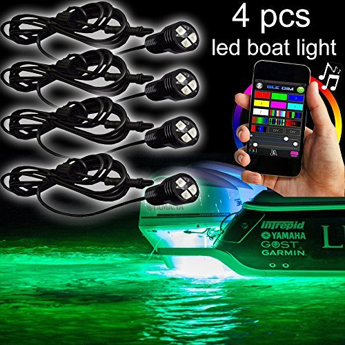 NBWDY New RGB bluetooth LED Boat Lights with Bluetooth Controller,DIY,Music Mode - 4 Pods Ip68 Water-proof Marine Boat Drain Plug LED Light Underwater Lights Waterproof Yacht Boat Drain Plug Led Light