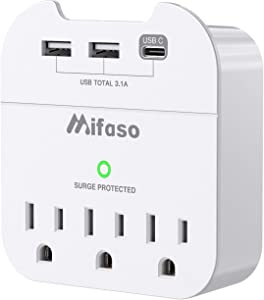 Multi Plug Outlet Extender, USB Wall Charger, Surge Protector with 3 Outlet Extender 3 USB (USB-C 3.1 A 2 USB-A), Wall Plug Adapter with Phone Holder for Office Home, 490Joules