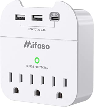 Mifaso Multi Plug Outlet Extender with Phone Holder